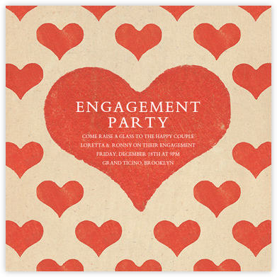 Patterned Hearts (Invitation) - John Derian - Engagement party invitations
