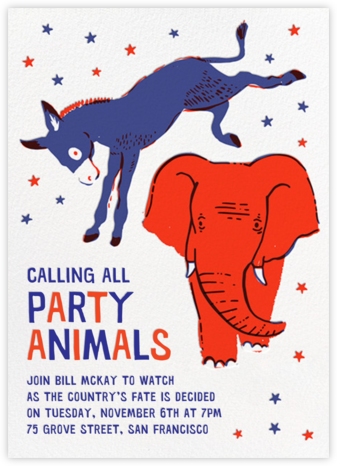 Donkey V. Elephant - Hello!Lucky - Election Night invitations