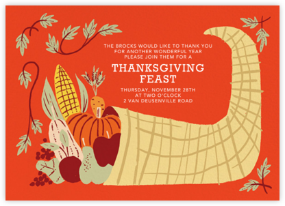 Horn of Plenty (Invitation) - Paperless Post - Thanksgiving invitations