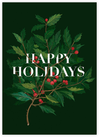 Holly Branch Holiday - Paperless Post - Christmas Cards
