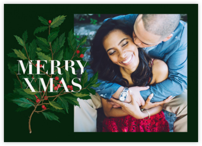 Holly Branch Christmas (Photo) - Paperless Post - Photo Christmas Cards