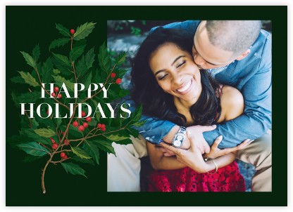 Holly Branch Holiday (Photo) - Paperless Post - Holiday Cards