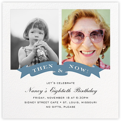 TBT Ribbon - Blue - Cheree Berry Paper & Design - Adult Birthday Invitations
