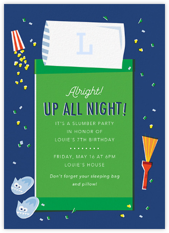 The Big Sleepover - Green - Cheree Berry - Online Kids' Birthday Invitations