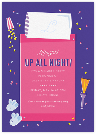 The Big Sleepover - Pink - Cheree Berry - Online Kids' Birthday Invitations