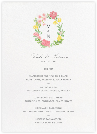 Floralia (Menu) - Paperless Post -