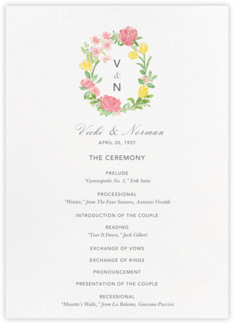 Floralia (Program) - Paperless Post - Wedding menus and programs - available in paper