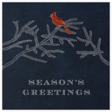 Christmas Cardinal - Navy - Paperless Post - Use your own logo