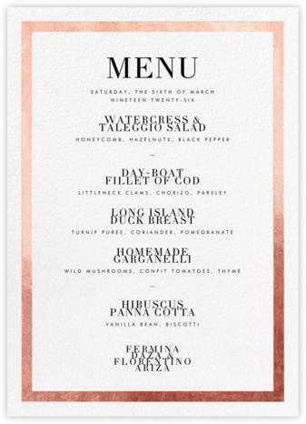 Editorial II (Menu) - White/Rose Gold - Paperless Post - Wedding menus and programs - available in paper