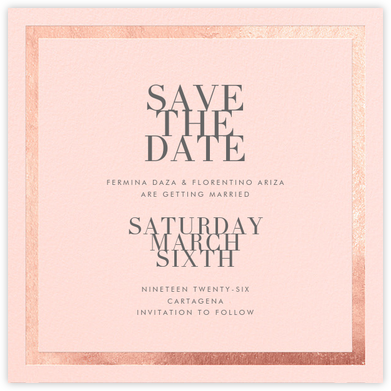 Editorial II (Save the Date) - Meringue/Rose Gold - Paperless Post - Save the dates