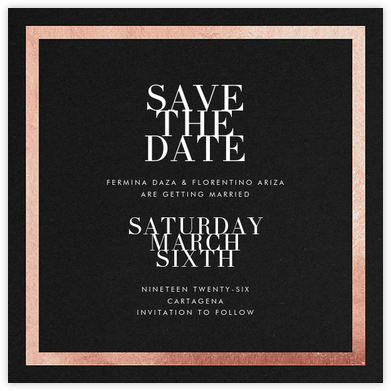 Editorial II (Save the Date) - Black/Rose Gold - Paperless Post - Save the dates