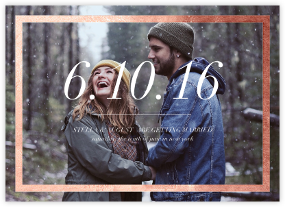 Foiled Frame (Photo) - Rose Gold - Paperless Post - Photo save the dates