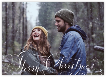 Merry Christmas Script (Photo) - White | horizontal