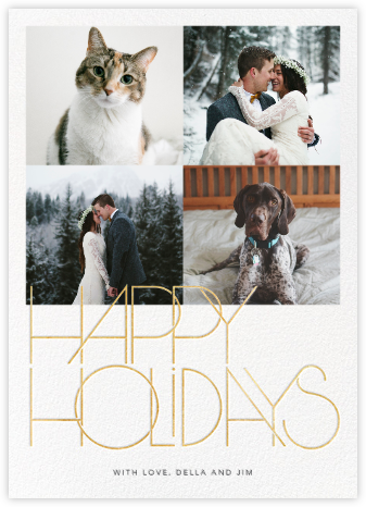 Avant-Garde Holiday (Tall Multi-Photo) - Gold - Paperless Post - Holiday Cards