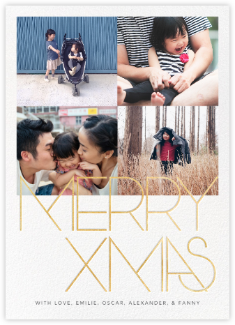 Avant-Garde Christmas (Tall Multi-Photo) - Gold - Paperless Post -
