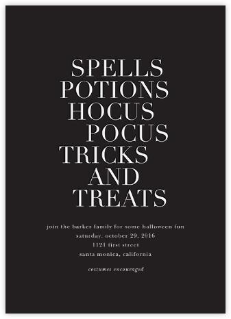 Hocus Pocus - White - Sugar Paper - Halloween invitations