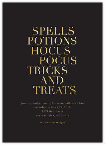 Hocus Pocus - Gold - Sugar Paper - Halloween invitations