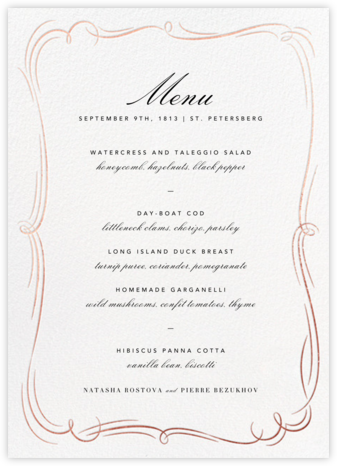 Plume (Menu) - White/Rose Gold - Paperless Post - Wedding menus and programs - available in paper
