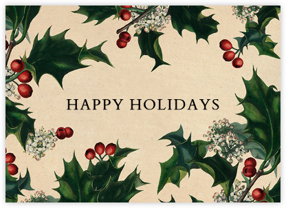 Branches de Houx (Horizontal) - John Derian - Holiday cards