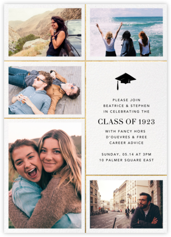 Quint - White/Gold - Paperless Post - Graduation Party Invitations
