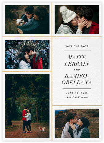 Quint - White/Gold - Paperless Post - Photo save the dates