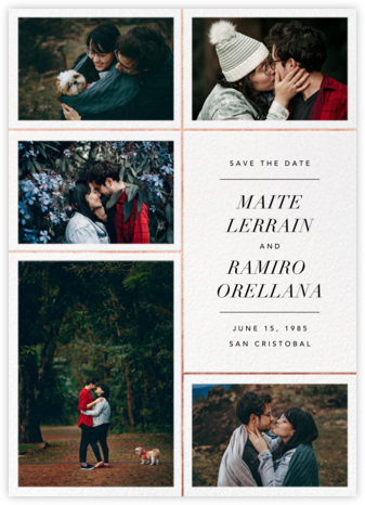 Quint - White/Rose Gold - Paperless Post - Photo save the dates