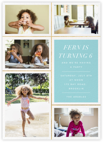 Quint - Caribbean/Gold - Paperless Post - Online Kids' Birthday Invitations