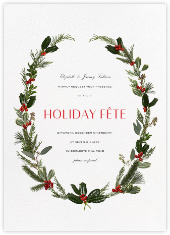 Fleurs de Noel - Paperless Post - Holiday invitations