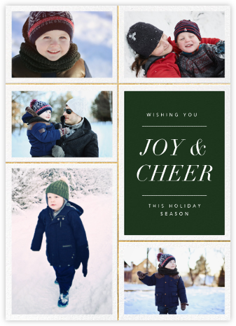Quint - Hunter Green/Gold - Paperless Post - Holiday Cards