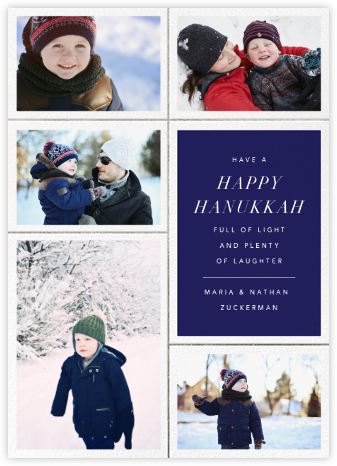 Quint - Royal Blue/Silver - Paperless Post - Hanukkah photo cards