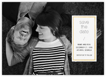 Solidus (Save the Date) - White/Gold - Paperless Post - Photo save the dates