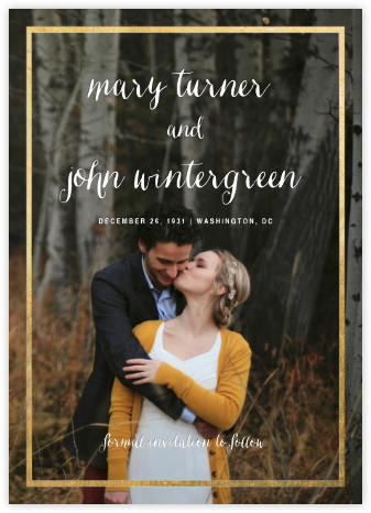 Idylle (Tall Photo Save the Date) - Gold - Paperless Post - Gold and metallic save the dates
