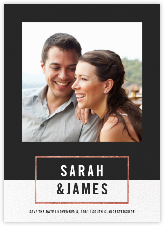 Bright and Bold (Save the Date) - Caviar/Rose Gold - Paperless Post - Photo save the dates