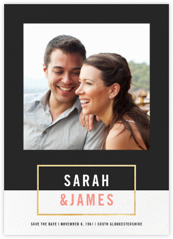 Bright and Bold (Save the Date) - Caviar/Gold - Paperless Post - Photo save the dates