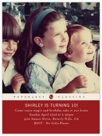 Paperback Edition - Crimson - Paperless Post - Kids' Birthday Invitations