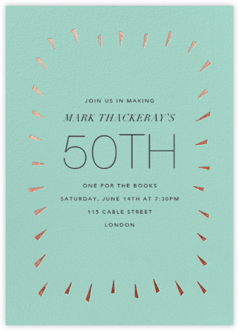 Éclat - Celadon/Rose Gold - Paperless Post - Adult Birthday Invitations