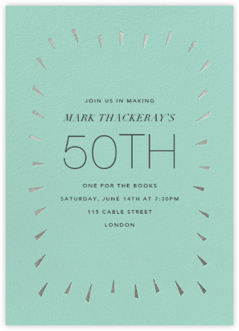 Éclat - Celadon/Silver - Paperless Post - Adult Birthday Invitations