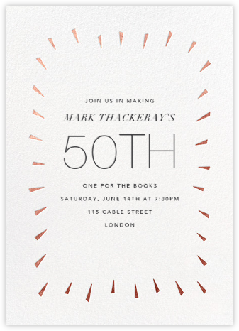 Éclat - White/Rose Gold - Paperless Post - Adult Birthday Invitations