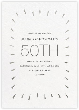 Éclat - White/Silver - Paperless Post - Adult Birthday Invitations