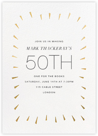 Éclat - White/Gold - Paperless Post - Adult Birthday Invitations