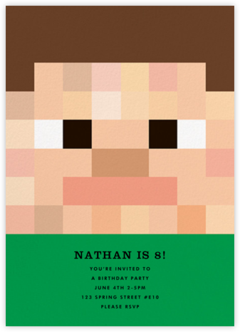 Pixel People - Green - The Indigo Bunting - Online Kids' Birthday Invitations