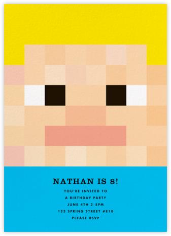 Pixel People - Cyan - The Indigo Bunting - Online Kids' Birthday Invitations