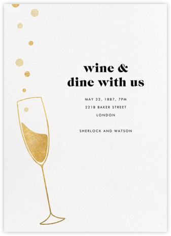 Champagne Bubbles - Paperless Post - Dinner Party Invitations