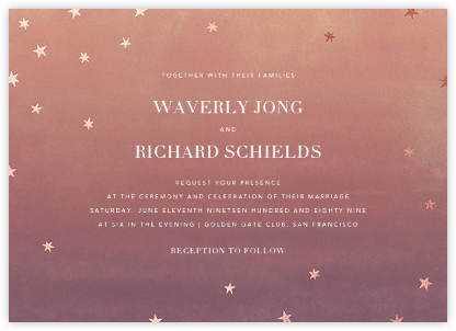L'Heure Bleue (Invitation) - Rose Gold - Paperless Post - Wedding Invitations