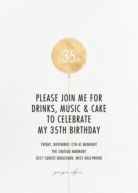 Mylar Balloon - Gold - Paperless Post - Adult birthday invitations