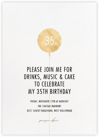 Mylar Balloon - Gold - Paperless Post - Adult Birthday Invitations