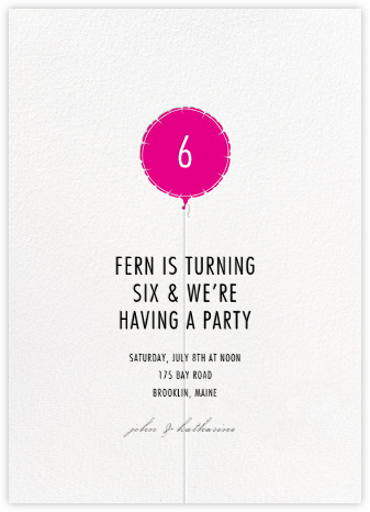 Mylar Balloon - Bright Pink - Paperless Post - Online Kids' Birthday Invitations