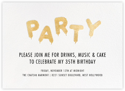 Mylar Party - Gold - Paperless Post - Adult Birthday Invitations