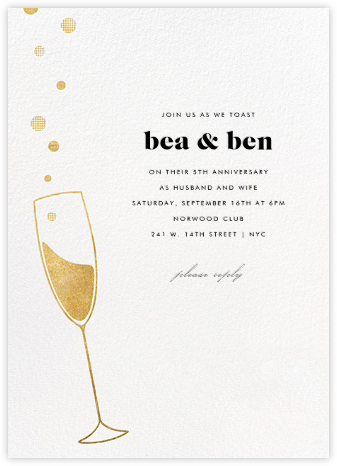 Champagne Bubbles - Paperless Post - Anniversary party invitations