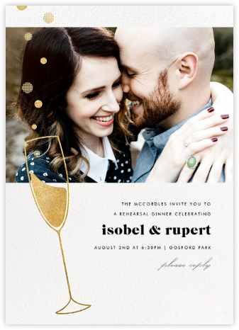 Champagne Bubbles (Photo) - Gold - Paperless Post - Engagement party invitations